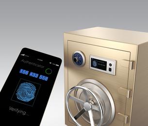スマートフォンと連携可能な金庫の写真素材 [FYI04647735]