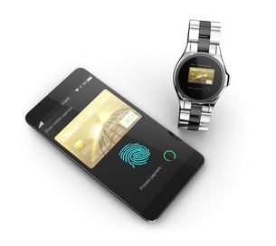 スマートフォンとスマートウォッチにて野ネットショッピングコンセプトの写真素材 [FYI04647743]