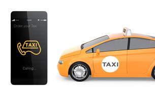 タクシーとスマホ用配車アプリコンセプトの写真素材 [FYI04647749]