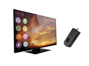 スティック型PCと3K曲面テレビの写真素材 [FYI04647750]