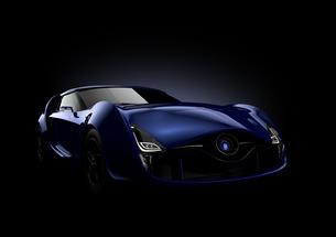 黒背景にあるサファイアブルーのスポーツカーの写真素材 [FYI04647762]