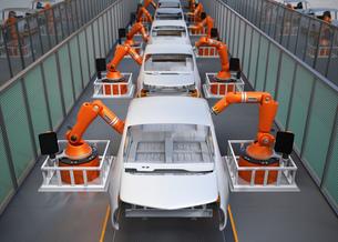 電気自動車の組立工場イメージ。3Dレンダリング画像の写真素材 [FYI04647782]