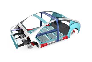 電気自動車フレーム、トランスミッション、バッテリーの構造イメージの写真素材 [FYI04647788]