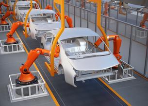電気自動車の組立工場イメージ。3Dレンダリング画像の写真素材 [FYI04647789]
