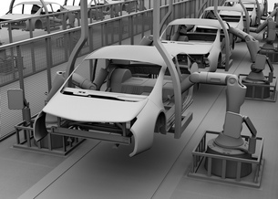 背景用クレイシェーディングの自動車組立工場イメージの写真素材 [FYI04647791]