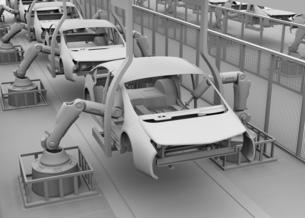 背景用クレイシェーディングの自動車組立工場イメージの写真素材 [FYI04647792]