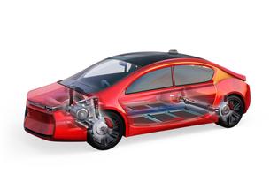電気自動車のボディ、フレーム、トランスミッション、バッテリーなどの構造イメージの写真素材 [FYI04647793]