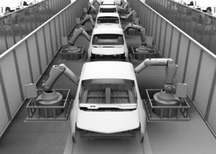 背景用クレイシェーディングの自動車組立工場イメージの写真素材 [FYI04647795]