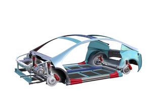 電気自動車フレーム、トランスミッション、バッテリーの構造イメージの写真素材 [FYI04647796]