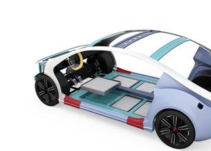 電気自動車フレーム、トランスミッション、バッテリーの構造イメージの写真素材 [FYI04647797]