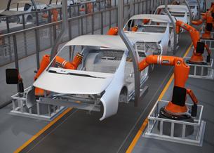 電気自動車の組立工場イメージ。3Dレンダリング画像の写真素材 [FYI04647803]