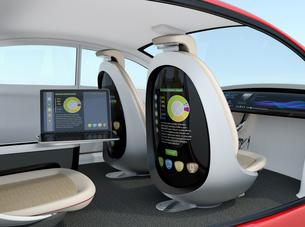 自動運転車のインテリアイメージ。ノートパソコンとシートモニターが同期しプレゼン資料を表示しているの写真素材 [FYI04647805]