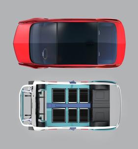 上面からみる電気自動車フレーム、トランスミッション、バッテリーの構造イメージの写真素材 [FYI04647808]