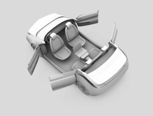 背景用グレーシェーディングの電気自動車イメージの写真素材 [FYI04647809]