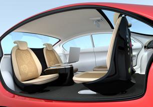 自動運転車のインテリアイメージ。シートが向き合う状態に調整されたの写真素材 [FYI04647811]