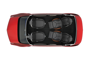 平面から見る自動運転車のシートレイアウトイメージの写真素材 [FYI04647817]