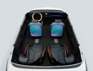 モニター付きの前方シートとリクライニング、マッサージ機能付きの後部シートのカットイメージの写真素材 [FYI04647821]