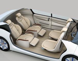 自動運転車のシートレイアウト。回転可能な前方シートとリクライニング、マッサージ機能付きの後部シートの写真素材 [FYI04647826]