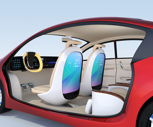 自動運転車用大型タッチスクリーンが備えた前方シートとリクライニング、マッサージ機能付きの後部シートの写真素材 [FYI04647827]