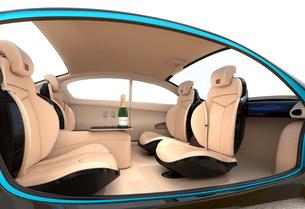 自動運転車のインテリアイメージ。上質なインテリアに回転可能なシートでくつろぎ空間を作るの写真素材 [FYI04647828]