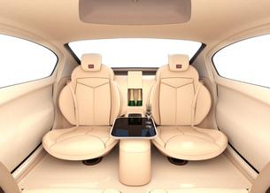 自動運転車のインテリアイメージ。上質なインテリアに回転可能なシートでくつろぎ空間を作るの写真素材 [FYI04647830]