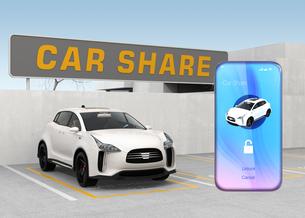 カーシェアリング専用駐車場とスマートフォンアプリのイメージの写真素材 [FYI04647845]