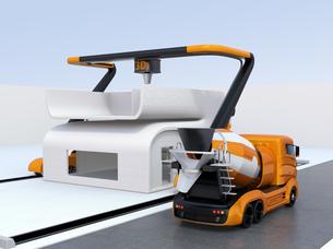 産業用大型3Dプリンタとミキサ車。3Dプリンタで家の外壁をプリントしているの写真素材 [FYI04647849]