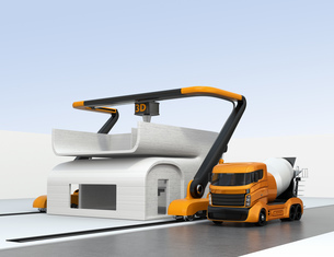 産業用大型3Dプリンタとミキサ車。3Dプリンタで家の外壁をプリントしているの写真素材 [FYI04647853]