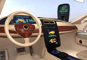 電気自動車のセンターディスプレイにクルマの充電状態が表示中の写真素材 [FYI04647857]
