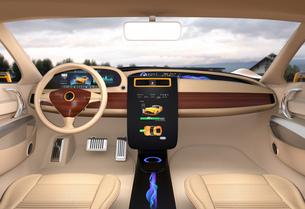電気自動車のセンターディスプレイにクルマの充電状態が表示中の写真素材 [FYI04647858]