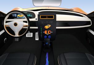 大型タッチスクリーンが備えた電気自動車のインテリア。ボタン操作によりクルマの制御が可能の写真素材 [FYI04647860]