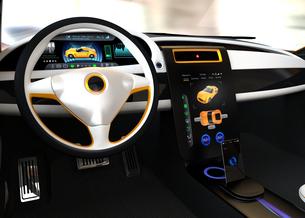 大型タッチスクリーンが備えた電気自動車のインテリア。ボタン操作によりクルマの制御が可能の写真素材 [FYI04647861]