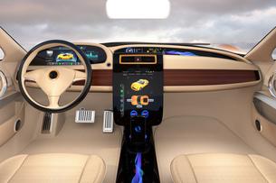 大型タッチスクリーンが備えた電気自動車のインテリア。ボタン操作によりクルマの制御が可能の写真素材 [FYI04647863]