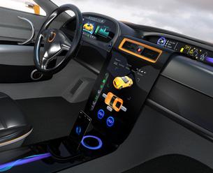 大型タッチスクリーンが備えた電気自動車のインテリア。ボタン操作によりクルマの制御が可能。の写真素材 [FYI04647864]