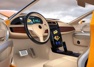 大型タッチスクリーンが備えた電気自動車のインテリア。ボタン操作によりクルマの制御が可能の写真素材 [FYI04647865]