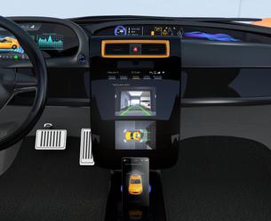 クルマのセンターディスプレイに表示される駐車支援システムのインタフェースの写真素材 [FYI04647867]