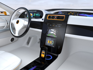 クルマのセンターディスプレイに表示される駐車支援システムのインタフェースの写真素材 [FYI04647868]