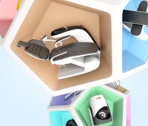 歯科ユニット、CT、CADCAM,3Dプリンタなどの連携。デジタルデンティストリーコンセプトの写真素材 [FYI04647888]