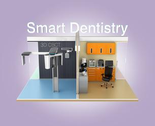 スマートデンティストリーコンセプトイメージ。診療、診断装置同士のシームレスのデータ連携の写真素材 [FYI04647894]