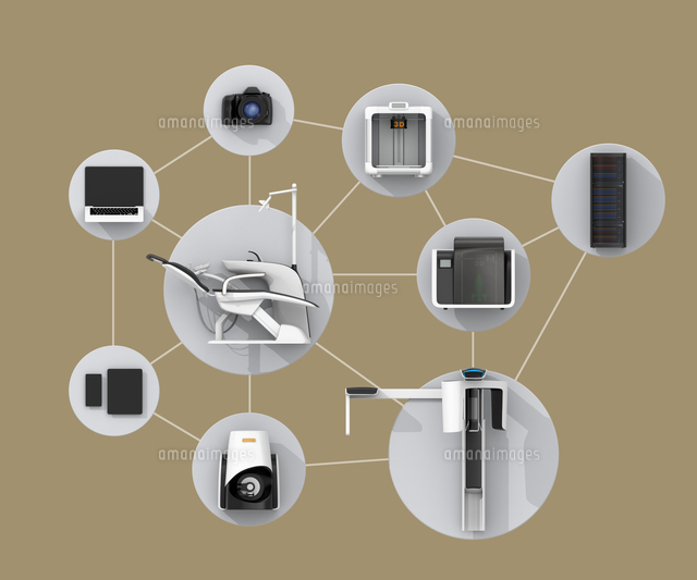 歯科ユニット、CTスキャナー、2Dプリンタによるデータ共有、連携、デジタルデンティストリーコンセプトの写真素材 [FYI04647901]