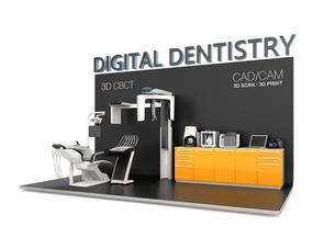 歯科ユニット、CTスキャナー、1Dプリンタによるデータ共有、連携、デジタルデンティストリーコンセプトの写真素材 [FYI04647903]