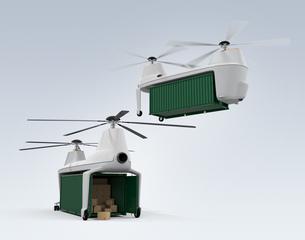 荷卸しと着陸中の貨物ドローンの写真素材 [FYI04647914]
