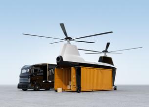 待機中のトラックと荷卸し中の貨物ドローンの写真素材 [FYI04647916]