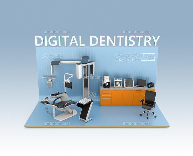 歯科ユニット、CTスキャナー、2Dプリンタによるデータ共有、連携、デジタルデンティストリーコンセプトの写真素材 [FYI04647918]