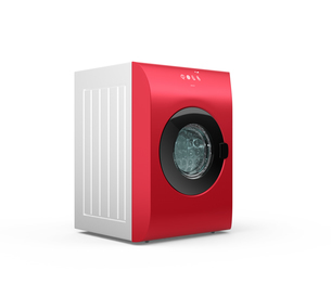 赤色タッチパネル付きのスマート洗濯機の写真素材 [FYI04647954]