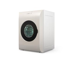 タッチパネル制御のスマート洗濯機の正面イメージの写真素材 [FYI04647956]