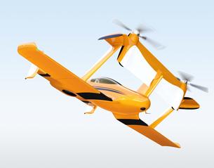 黄色のドローンタクシー。自動運転空中輸送コンセプトの写真素材 [FYI04647958]