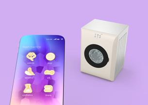 タッチパネル付きの洗濯機とスマートフォン。専用アプリで洗濯コースを設定可能。スマート家電コンセプトの写真素材 [FYI04647960]