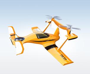 黄色のドローンタクシー。自動運転空中輸送コンセプトの写真素材 [FYI04647962]