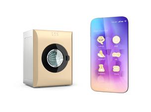 タッチパネル付きの洗濯機とスマートフォン。専用アプリで洗濯コースを設定可能。スマート家電コンセプトの写真素材 [FYI04647963]